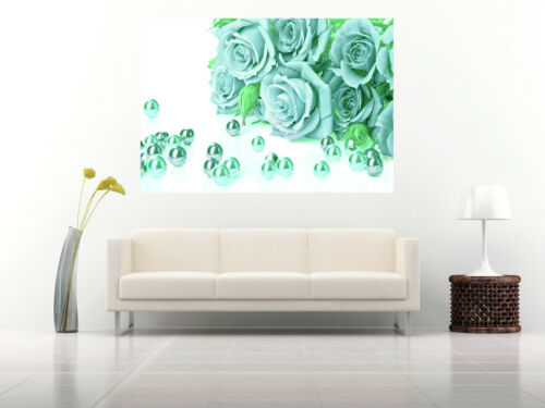 A2 sizes A1 Duck Egg Blue Roses Cotton Canvas Wall Art Picture Print