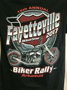 FAYETTEVILLE-2017-Motorcycle-Rally-Biker-Mens-Graphic-T-Shirt-Black-Sz-L