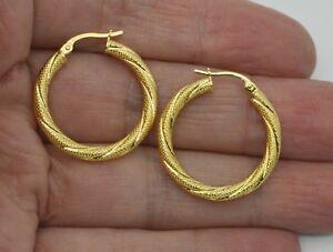 Italian-14k-Solid-Yellow-Gold-Diamond-Cut-Hoop-Earrings-25-x-2-5MM-1-7GR