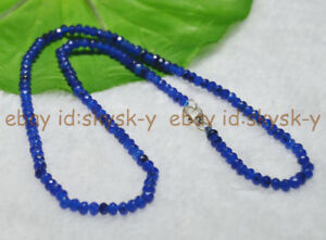 Fine-2x4mm-Sapphire-Faceted-Roundel-Gems-Beads-Necklace-Silver-Clasp-AAA