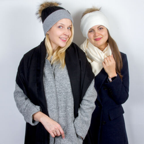 Black and Gray Women/'s Beanie Hat with Natural Fur Pom-pom Soft and Warm Hat
