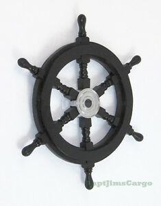 Black-Pirate-Ship-039-s-Steering-Wheel-18-034-Wooden-Nautical-Wall-Decor-New
