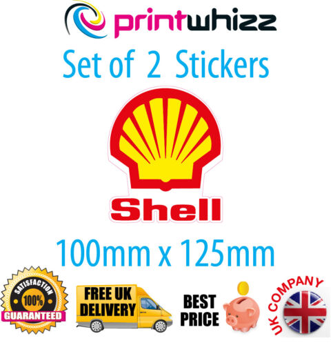 SHELL Oil x 2 Stickers Petroleum Motorsport Decals Quality Printed Vinyl Label