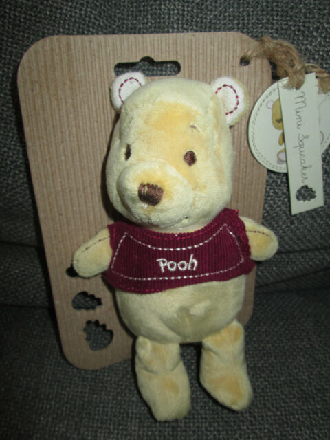 "Disney Baby Winnie The Pooh Mini Squeaker soft toy 7"" by Posh Paws BNIP"