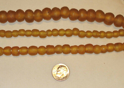 BEAUTIFUL FAIR TRADE UNENHANCED ARTISAN RECYCLED GLASS BEADS AMBER