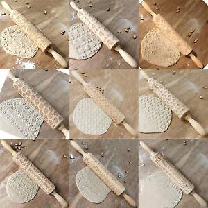 Christmas-Pattern-Wooden-Rolling-Pin-Carved-Wood-Embossing-Gift-Biscuits