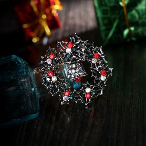 Vintage Cristal Guirlande de Noël Émail Broche Pin Femmes Noël Costume Jewelry