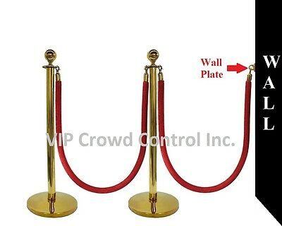 "ROPE STANCHION, 5 PCS SET, CROWN TOP AND GOLD POLISH S.S. 12"" DOMED BASE"