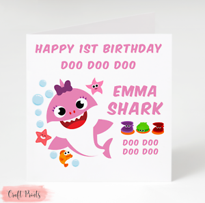 "ANY NAME ANY AGE 36/"" x 11/"" 2 BABY SHARK PERSONALISED BIRTHDAY BANNER DOO DOO"