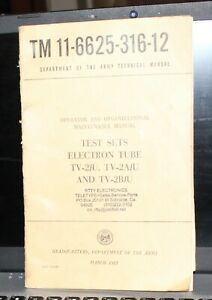 TM 11-6625-316-12 Test Sets Electron Tube TV-2/U  TV-2A/U and TV-2B/U Manual