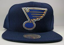 St. Louis Blues Mitchell & Ness Vintage Solid Wool Blue Snapback Hat Cap NHL