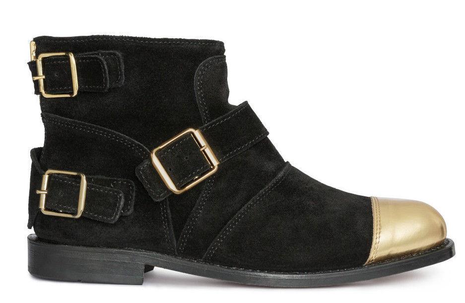 SOLD OUT New Boxed Balmain x H&M Black & gold suede toe cap boots UK 5 EUR 38