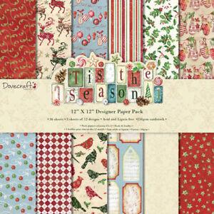 Tis-the-Season-12x12-Designer-Paper-Pack-Chr-36-sheets-150gsm-holly-robin