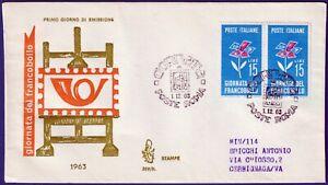 1963-FDC-Venetia-Giornata-del-Francobollo-Viaggiata-raccomandata-n-209It