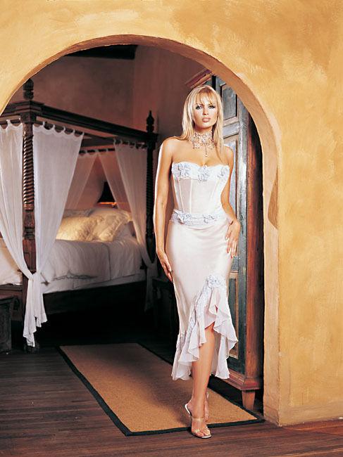 Leg Avenue Fashion Silk Satin Corset Long Ivory Gown Größe Medium