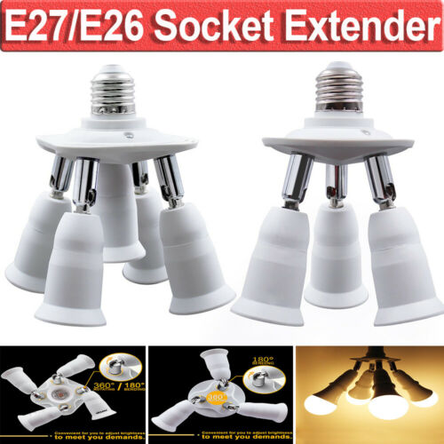 E27//E26 Light Socket Splitter 5in1//3in1 Adapter Converter 360 Degrees Adjustable