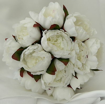 SILK PEONY PEONIES ROSES ROSE WEDDING BRIDAL BOUQUET ARTIFICIAL POSY FLOWERS