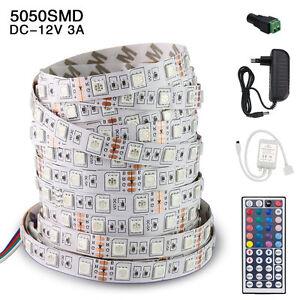 5050-300LED-SMD-RGB-White-Flexible-5M-Xmas-Strip-Light-Remote-Power-Supply-DC