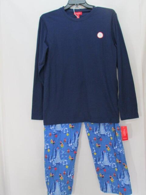 11837b567b84 NWT Macy s Men s Family PJs 2 Piece Set Blue Top   Blue Elf Pants Size Small
