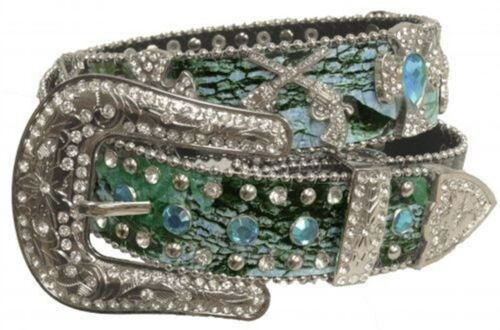 Showman Couture XS//SM Western Blue Camo Belt with Rhinestone Conchos
