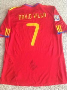 principal cobre Deliberar  DAVID VILLA SIGNED SPAIN WORLD CUP 2010 ADIDAS JERSEY SHIRT AUTO BARCELONA  NYCFC | eBay