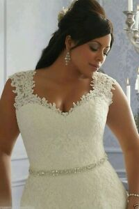 Image Is Loading Plus Size White Ivory Lace Sleeveless Wedding Dresses