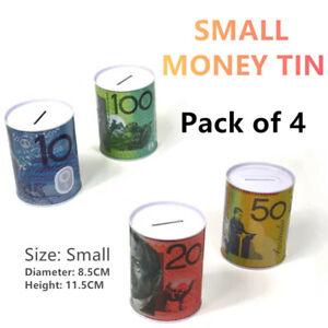 72 X Small Australian Dollar Note Money Tin Box Piggy Bank Coin Boxes Savings