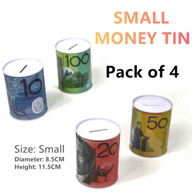 4x Small Money Tin Saving Coin Metal Storage Box Piggy Bank Australian Dollar