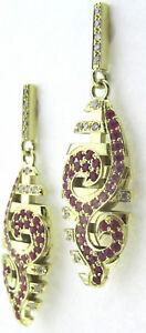 Ohrhaenger-Unikat-585-14k-Gold-pink-Safir-Brillant-Handarbeit-stars-and-stripes