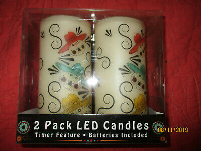 """SUGAR SKULL LED CANDLE 2 PACK 5.75 """" DAY OF THE DEAD ..."""