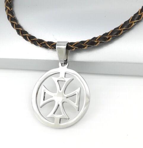 Silber Ritter Templar Kreuz Edelstahl Anhänger Braun Leder Halskette Geflochten