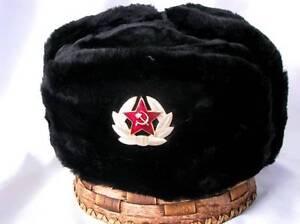 100% De Qualité Russe Noir Militaire Hiver Ushanka Chapeau Avec Soviétique Badge!!! Toutes Les Tailles!!!-afficher Le Titre D'origine