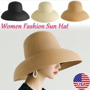 Hepburn Style Retro Wide-brimmed Straw Hat Top Hat Women Travel Beach Hat Sunhat