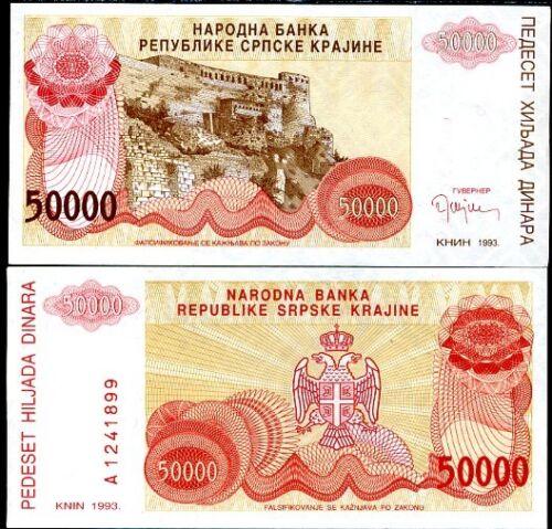 CROATIA 50,000 50000 DINARA 1993 P R21 AUNC
