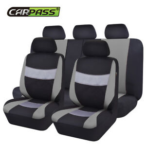 Universal-Premium-Black-Grey-Car-Seat-Covers-Protector-Breathable-For-SUV-VAN