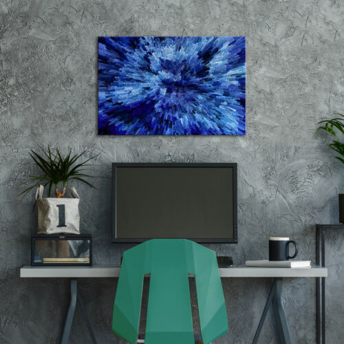 ZAB838 Blue Black Cool Funky Modern Canvas Abstract Wall Art Picture Prints