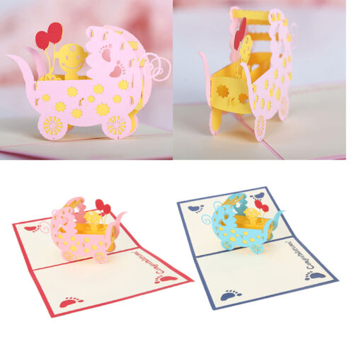 3D Pop Up landaus Carte de vœux Papier Découpé Carte Postale Fête D/'Anniversaire Cadeau