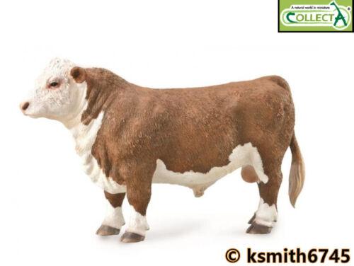 CollectA HEREFORD TORO solido in plastica giocattolo fattoria animale da compagnia Mucca Bovini NUOVO