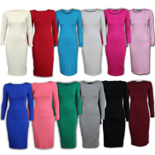 Ladies Dress Maxi Womens Bodycon Long Midi Plain Stretch Crew Neck Party New