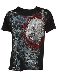 Konflic-Men-039-s-Giant-Tribal-Eagle-Graphic-MMA-Muscle-Crew-Neck-T-shirt