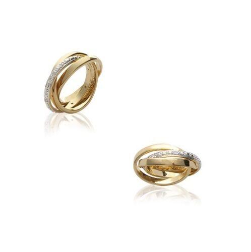 Bague ring ALLIANCE 3 ANNEAUX Plaqué OR ZIRCONIUM NEUF choix