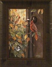 THE GATHERING by Rick Kelley Chickadee Cardinal Birds 15x19 FRAMED PRINT PICTURE