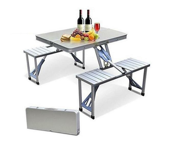 Aluminium  Portable Folding Camping Picnic Table Outdoor BBQ With Chairs Stools  wholesale