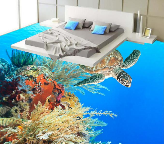 3D Coral Sea Turtle 45 Floor WallPaper Murals Wall Print Decal AJ WALLPAPER