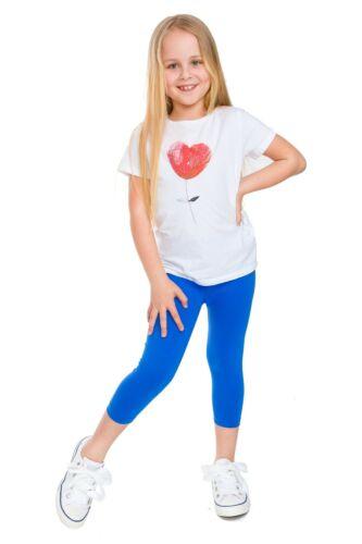 Ragazze Leggings Capri Morbido Cotone Bambini Pantaloni Elastici 3//4 età 2-13 ANNI Bambino 34