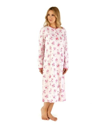 Ladies 100/% Bonded Cotton Long Sleeve Floral Print Nightdress By Slenderella