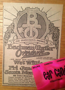 Randy-BACHMAN-TURNER-OVERDRIVE-BTO-Wet-Willie-SANTA-MONICA-1974-Original-Ad