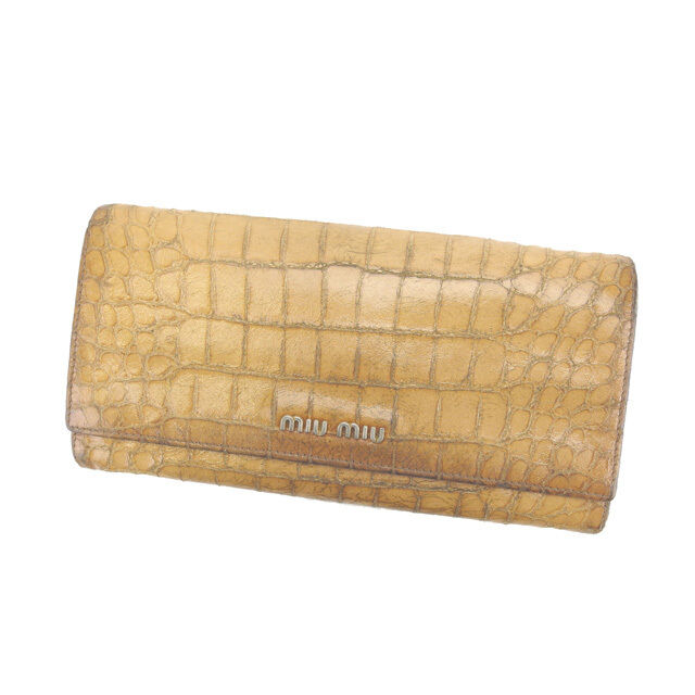 miumiu Wallet Purse Long Wallet Beige Gold Woman Authentic Used C1898