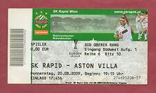 Orig.Ticket   Europa League  09/10  SK RAPID WIEN - ASTON VILLA FC  !!  SELTEN
