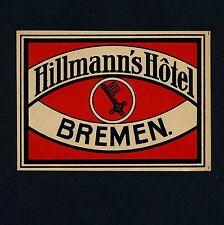 Hillmann's Hotel BREMEN Germany / Key * Old Luggage Label Kofferaufkleber